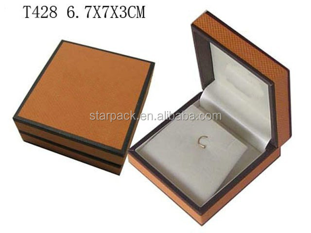 Custom Beautiful Leather Jewelry Packaging Plastic Ring Earring Set PU leather Box T428-434