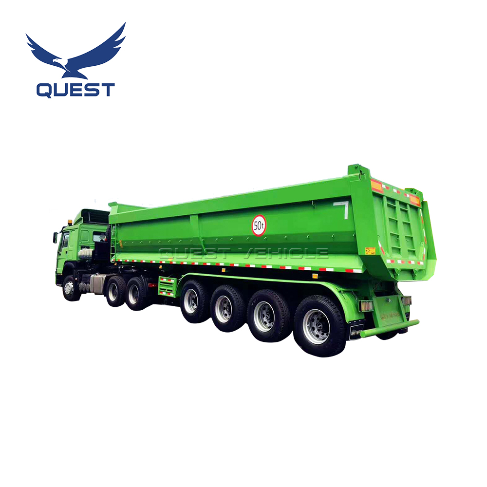 QUEST coal or grain <strong>rear</strong> hydraulic 45 cubic meter U shape 4 <strong>axles</strong> dump Trailers tipper semi trailer