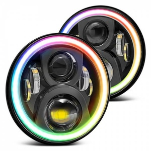 "7"" RGB Halo LED Headlight Multi-Color Changing DRL Hi/Lo Beam For Jeep Wrangler"