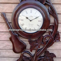Decorative Wooden Wall Clock With Carving