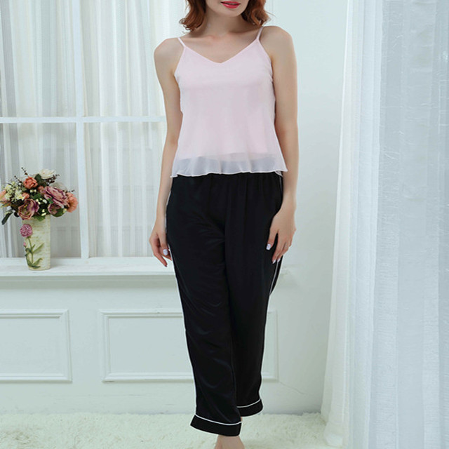 Women's Sexy Sleeveless Pajamas with V Neck