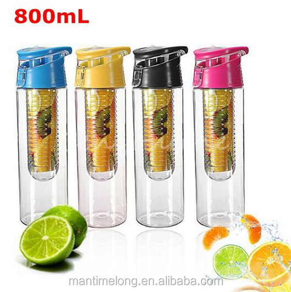 fruit infuser water bottle travel water bottle plastic fruit infuser water bottle
