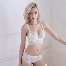 Hollow lace front double straps transparent bra panty set