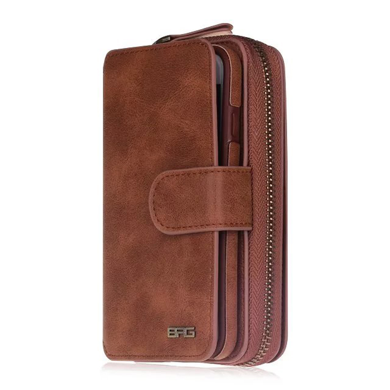 Portable PU Leather Folio Flip Credit Card Slots Cash Holder Zipper Wallet Case for iPhone 7/7p
