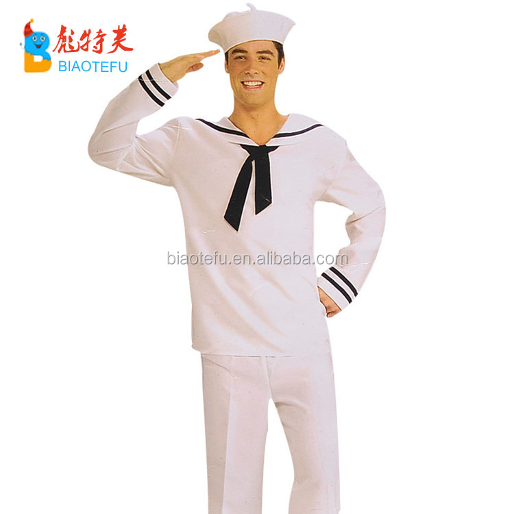 hot sale carnival party adult men white sailor cosplay costumes uniform in stock