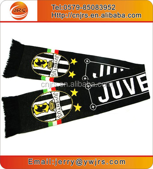 OEM football club fans scarf black and white promotional football scarf