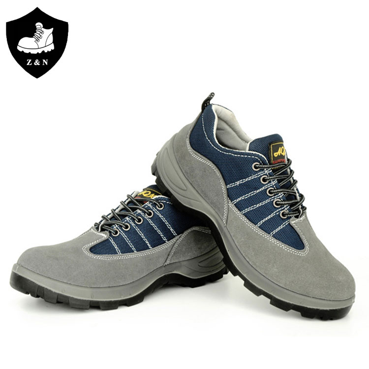 Breathable bule mesh and suede leather safety shoes with steel toe