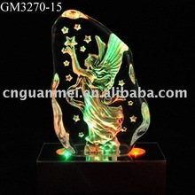 Glass block with LED changing light base