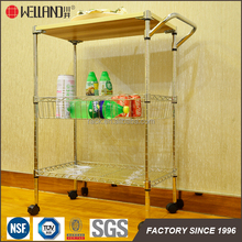 Hot Selling 3 Tier Metal Adjustable Wire Kitchen Trolley Cart With Baskets