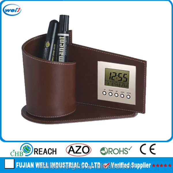 new design digital clock with pen holder for office decoration