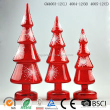 Newest 3-piece led lit hand crafted red glass tree gift wholesale