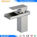 Beelee BL0510N Brushed Nickel Wide Open Spout Waterfall Basin Faucet