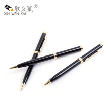 March Expo Customized Logo Gift Advertising Black Metal Smooth Writing Ballpoint Pen