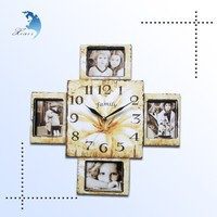 2015 Newest style design digital photo frame Wooden Wall Clock Wholesale