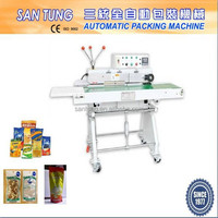 Continuous plastic bag band sealer
