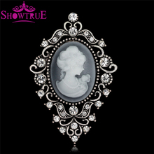 Wholesale Big Crystal Vintage Beautiful Queen The Cameo Brooch for Lady Scarf Pendant c*c Brooch Pins Jewelry Gift