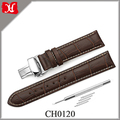 Soft and Comfortable Calf Leather 22mm Padded Replacement Watch Band Push Silver Buckle Leather Watch Strap Brown Color