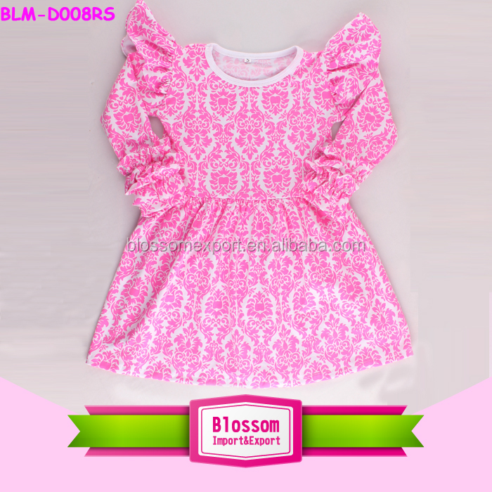 Pink damask baby girl party dress children frocks designs baby cotton frocks designs