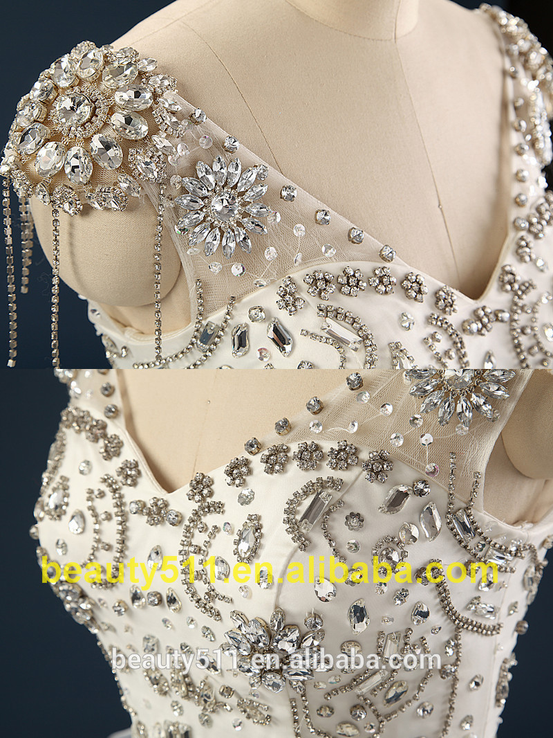 Hot Cake Wedding Dress With Hand made 3D Flowers Ball Gown Luxury Heavy Beading ball gowns Wedding Dress 2017 AS434