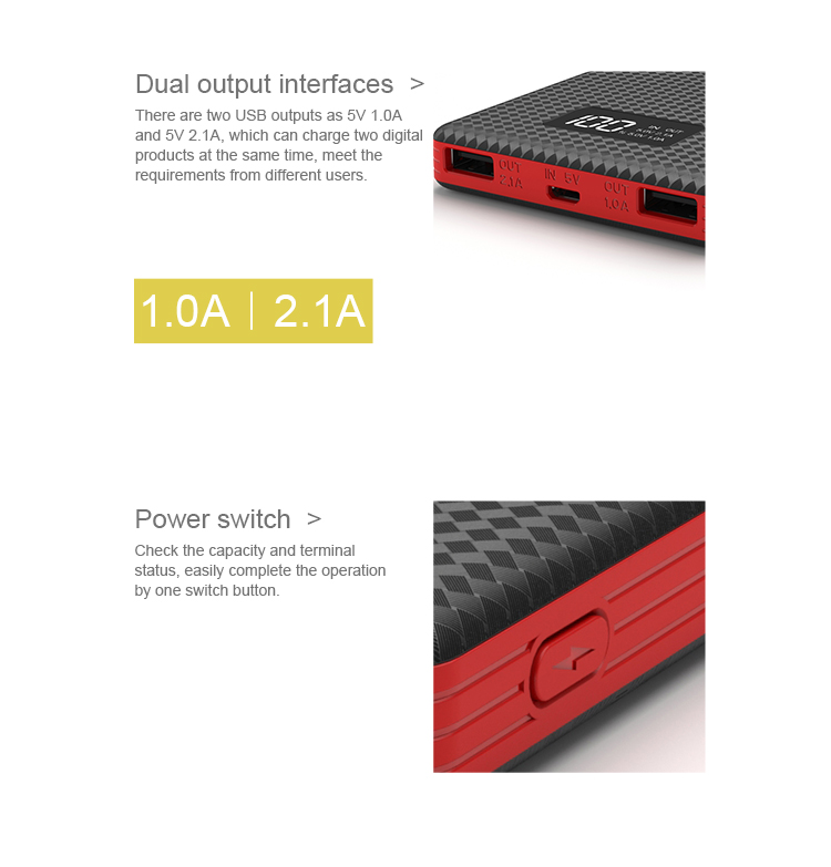 High capacity portable USB mobile charger waterproof small PowerBank 10000mAh