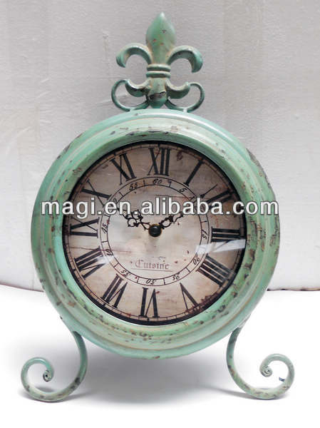 Shabby blue handmade metal round table clock