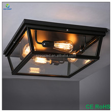 Big Retro Dining room Clear Glass Rectangular Ceiling Light / lamp with Double E27 Edison Bulb and Iron Frame