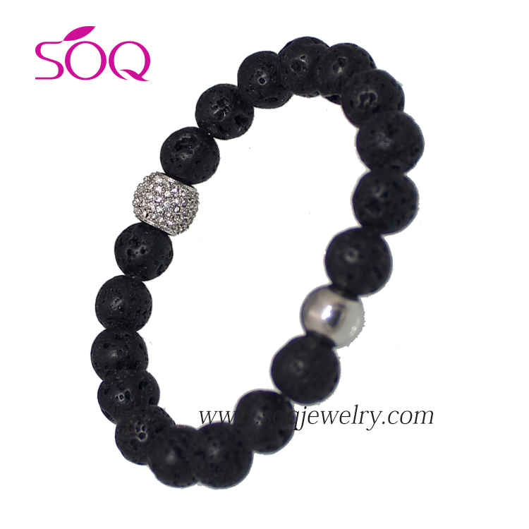 New Arrival Stainless Steel Beads Black Lava Stone Bracelet for Women Jewelry
