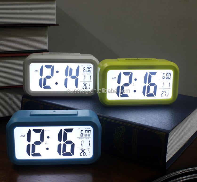 Noctilucent Desktop Desk LCD Digital Time Watch Low Price Wholesale Plastic Alarm Clocks
