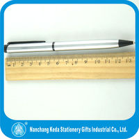 new design silver body and black clip twist stainless steel oil ink pen
