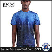 Mgoo Customized Sublimated Printed O-Neck Space Galaxy Cosmos T Shirts All Over Print Plain Crew Neck Slim Fit Tee