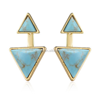 Retro Women Gold/Silver Turquoise Triagnle Earrings Jewelry Gift