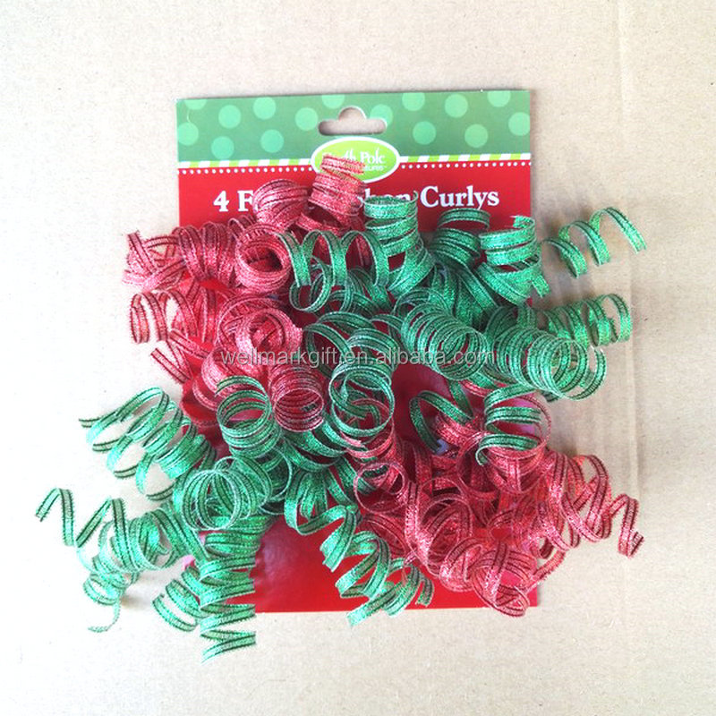 Christmas Decoration Supplies Shimmery Make Polyester Fabric Woven Ribbon Curly Bow