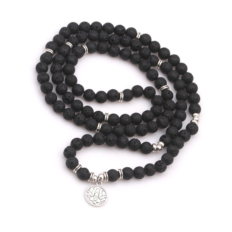 Gemstone 108 Mala Necklace Yoga Healing Bracelet Stones Meditation 108 Mala Beads on Bracelet