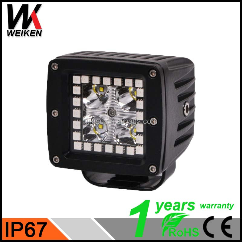 WEIKEN new products fashion square portable work light haro RGB 12W work led light with angel eye, led tractor working lights