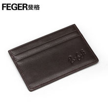 Trend slim leather card holder vintage cowhide leather card holder with signature logo