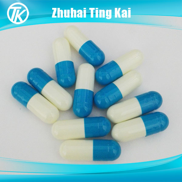 Empty hard gelatin capsules size 0 blue white