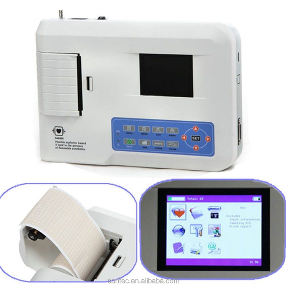 Digital Three Channel ECG Machine--CE DA 12 lead EKG color LCD PC software