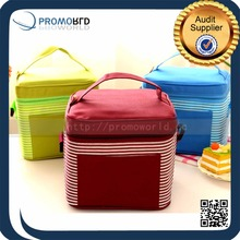 Nylon Square colorful fitness Lunch Cooler Bag with drink holder,insulated cooler bag