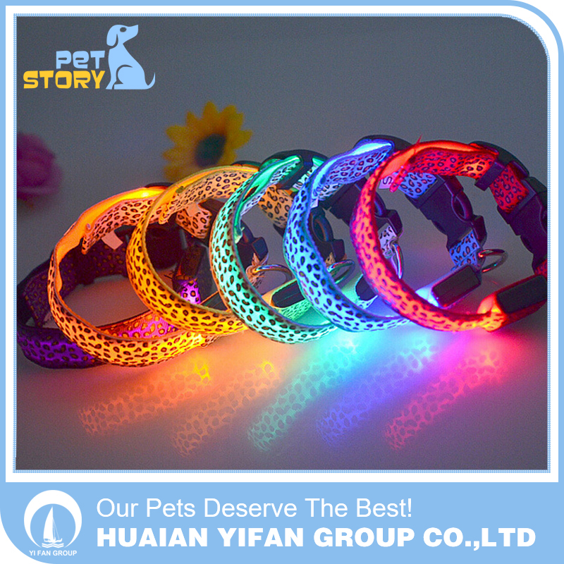 2016 Hot Wholesale Custom Nylon led Dog Collar Pet Collar For Cats Puppy Gold Supplier