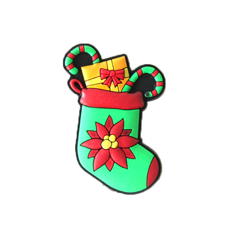 New custom 3d pvc christmas socks shaped fridge magnet
