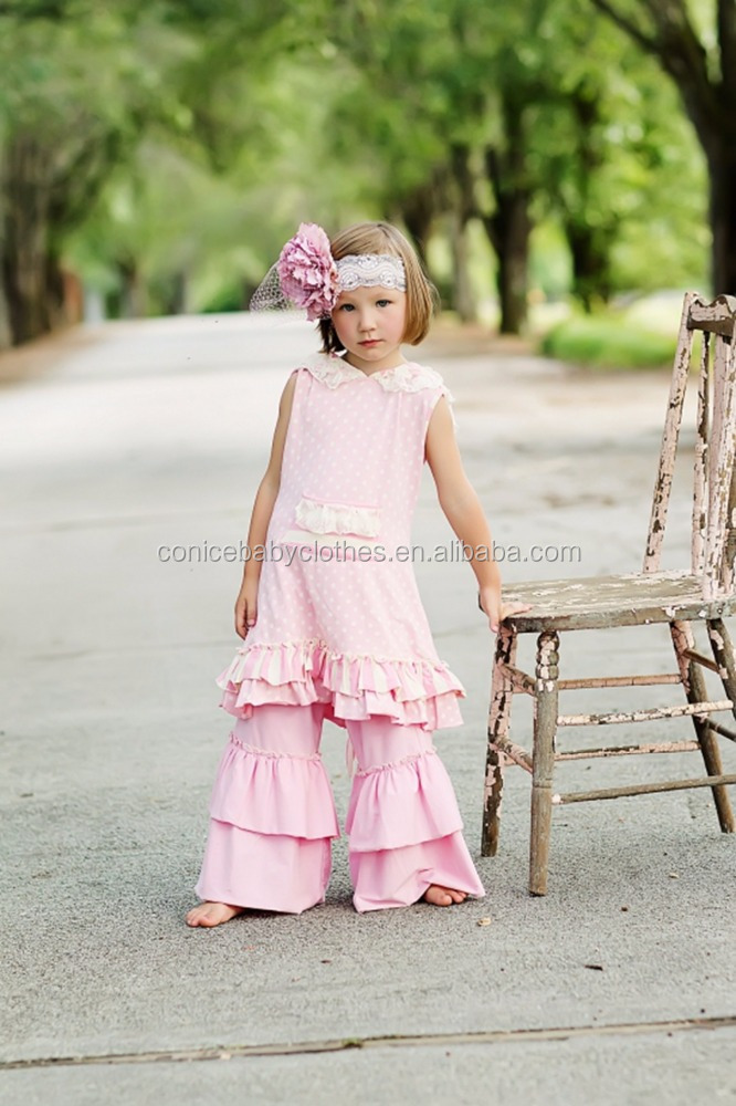 western kids clothing spring summer girls boutique outfit 2pcs kids sleeveless bell-bottom clothing set