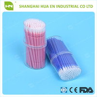 pvc container packing 100pcs/container dental micro brush applicator