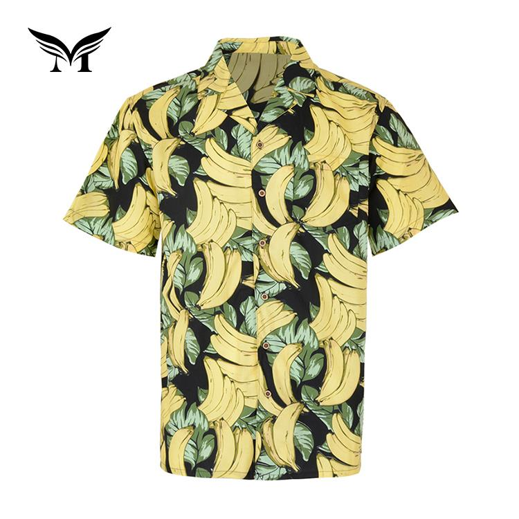 Latest design custom popular beach short sleeve <strong>100</strong>% men cotton new model banana shirts