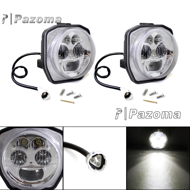 Hot Motorcycle LED Chromed Headlight Head Light For Yamaha ATV GRIZZLY 4WD HUNTER 700 EPS 2006 2007