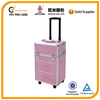 Pink aluminum hairdressing tool case with drawers
