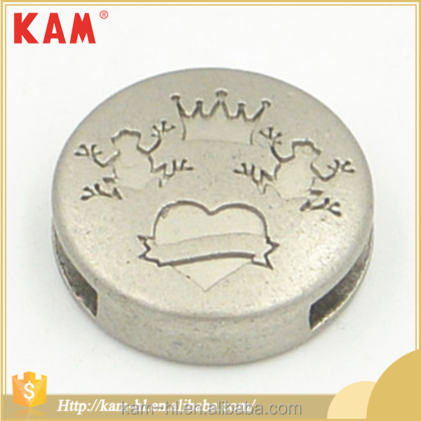 Customized logo nickel adjustable garment round metal cord end