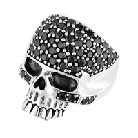 Wholesale stainless steel 3D men's silver rings skull