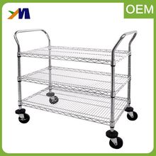 Workshop electric utility stainless steel wire mesh mobile industrial heavy duty trolley hand push cart for sale