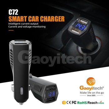 Car charger with LED light 5V/2.4A double usb
