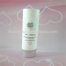 Professional oval SPF30 BB cream empty plastic tube with open end